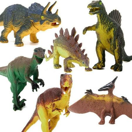 DINOSAUR AGES 6 Pcs/Set Tyrannosaurus/Stegosaurus/Triceratops Utahraptor/Spinosaurus/Pterosaur Vivid Dinosaur Figure Animal Model Kids Toy,Boys Children Birthday Gifts