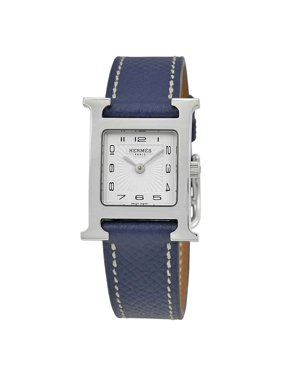 Hermes H Hour White Dial Blue Grained Leather Ladies Watch 039422WW00