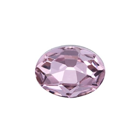 10pcs Embellishment Rhinestone, Pink Oval Foil Back Crystal 8x6mm