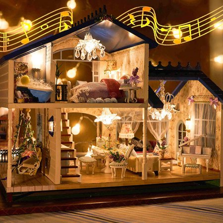 DIY Handcraft Miniature LED Light & Music Provence Dollhouse with Furniture Home Decor Ornament Christmas