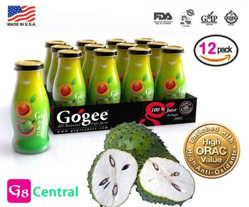 GOGEE Goji Berries Soursop Juice,(240 ml) 8 Ounce (Pack of 12)
