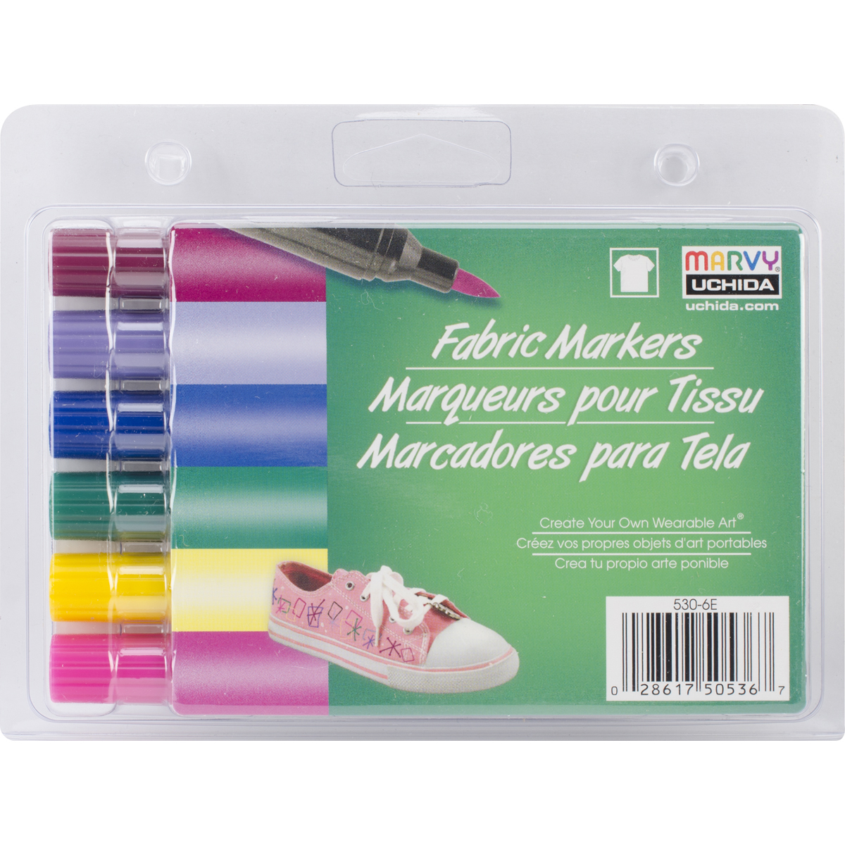 Fabric Markers Brush Tip 6/Pkg-Bright