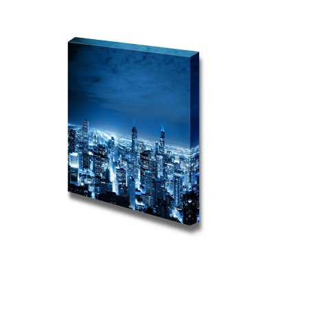 Canvas Prints Wall Art - Aerial View of Chicago Cityscape at Night   Modern Wall Decor/Home Decoration Stretched Gallery Canvas Wrap Giclee Print & Ready to Hang - 16