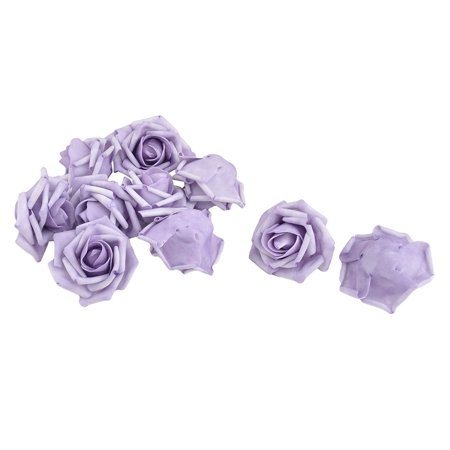 Bride Foam Artificial Rose Flower Heads DIY Headband Decor Light Purple 10pcs