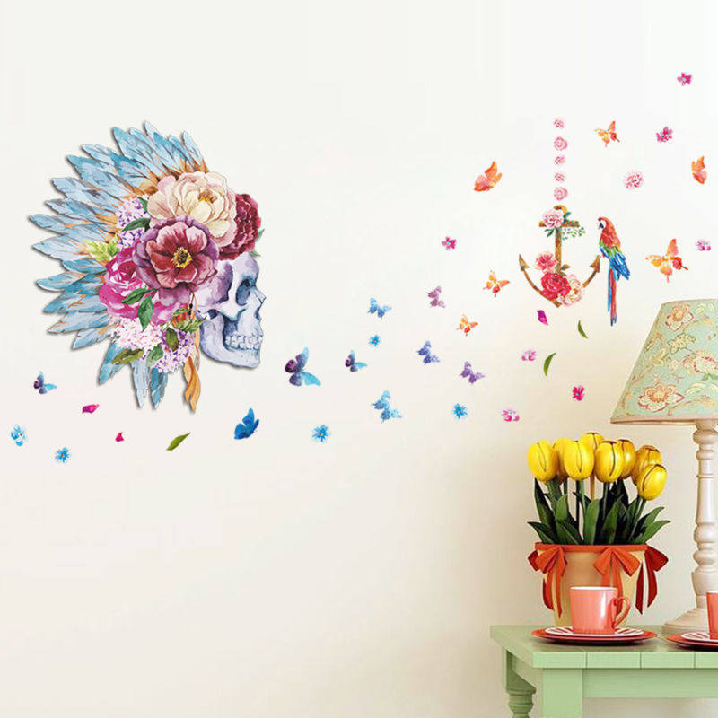 House Butterfly Floral Flower Skull Skeleton Birds Modern Art Wall Sticker Decor
