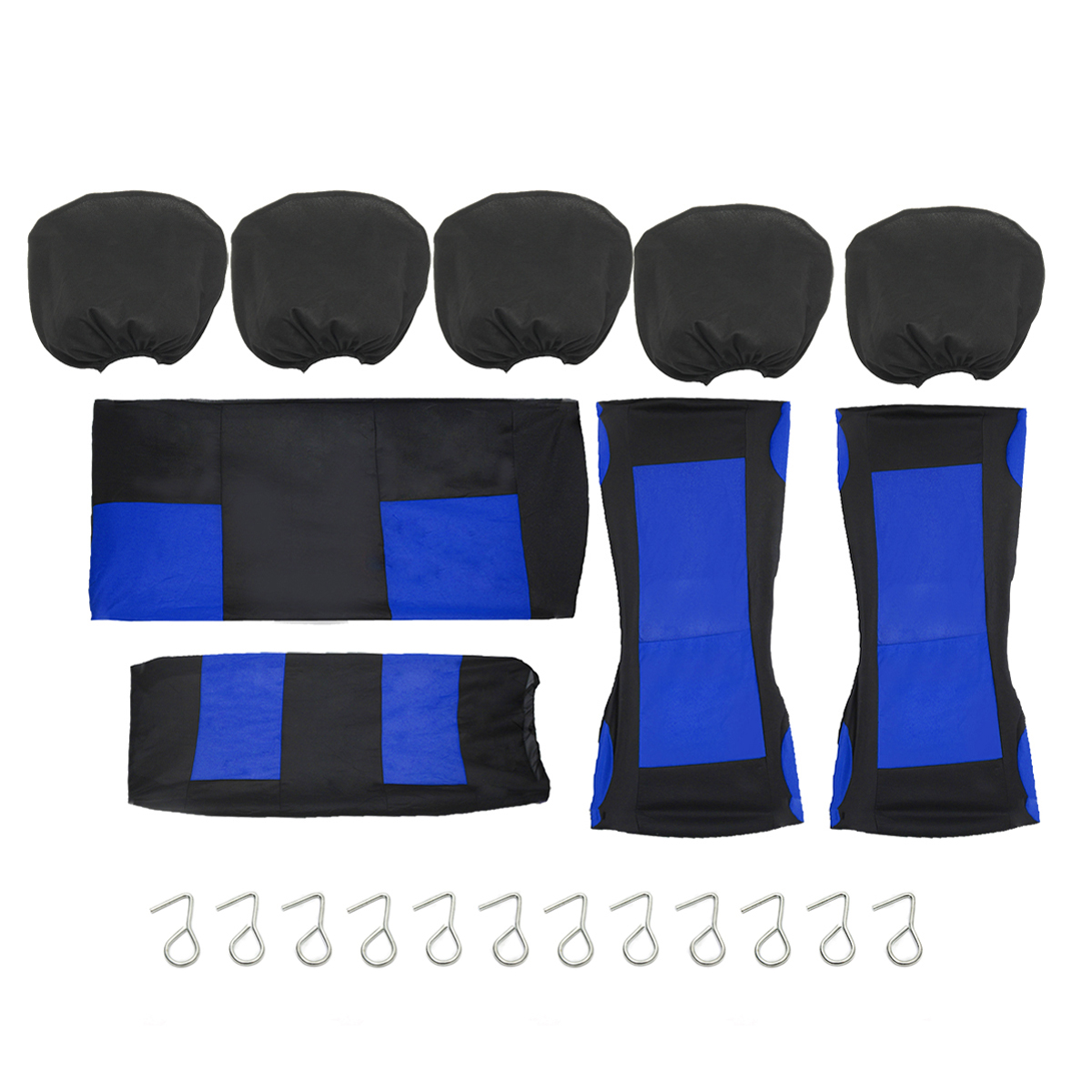 9Pcs/set Universal Car Seat Cover + carseatcover Hooks Full Set For Auto Front + Rear Seat Headrests