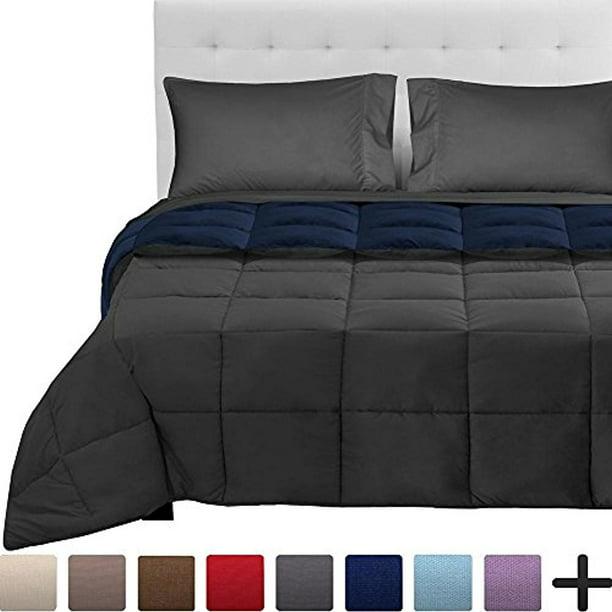 Bare Home 5 Piece Reversible Bed In A Bag Queen Comforter Dark Blue Grey Sheet Set Grey Walmart Com Walmart Com