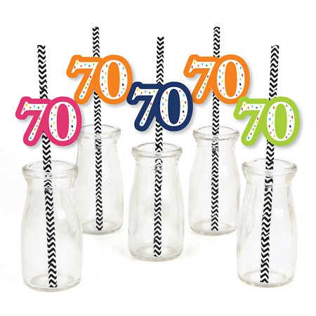 70th Birthday - Cheerful Happy Birthday - Paper Straw Decor - Colorful seventieth Birthday Party Striped Decorative Straws - Set of 24 ](Seventieth Birthday Ideas)