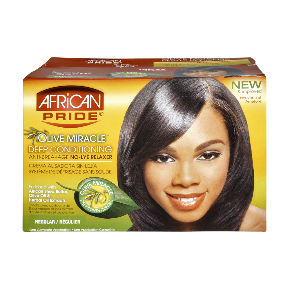 African Pride Olive Miracle Regular Deep Conditioning Anti-Breakage No-Lye Relaxer, 1.0 CT