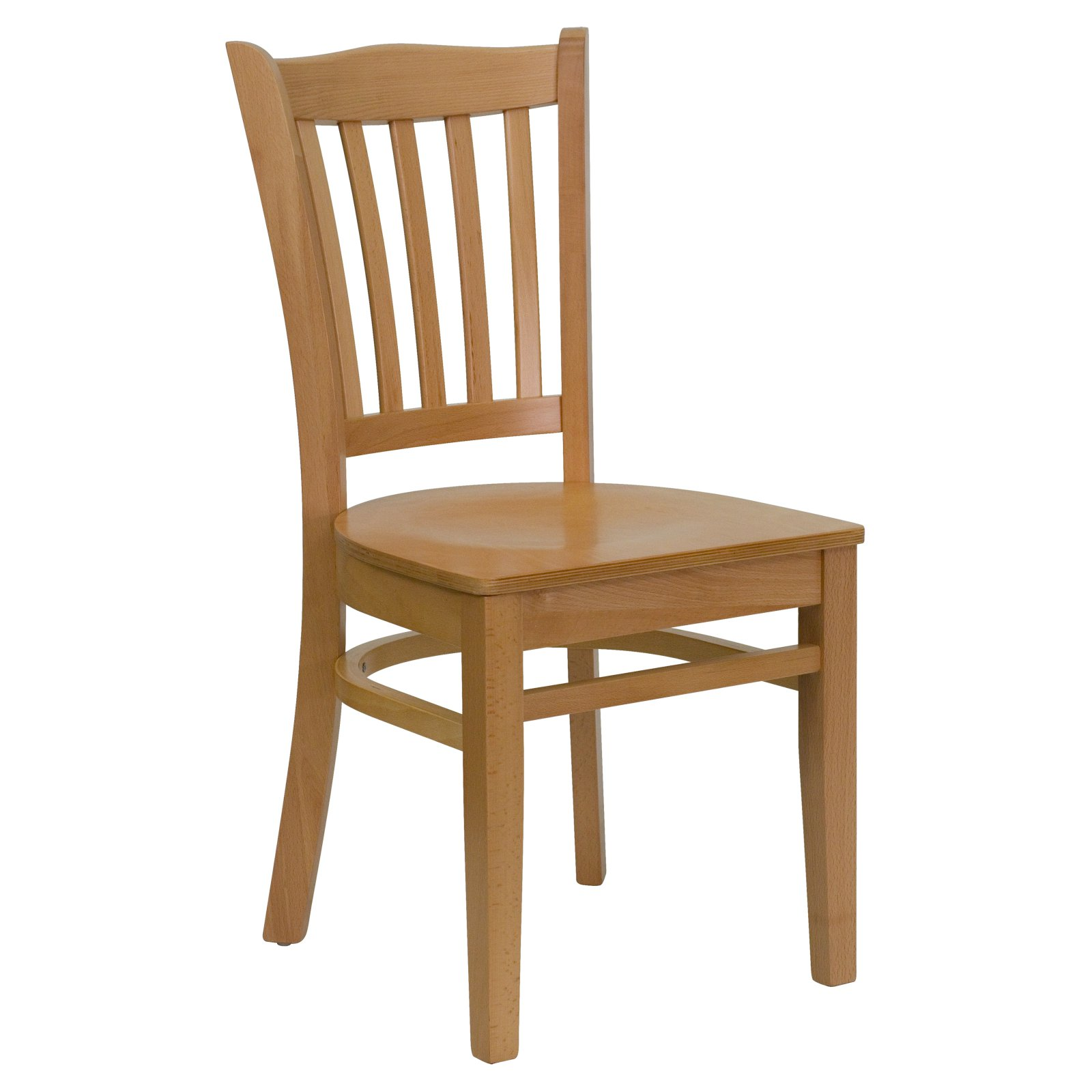 Flash Furniture HERCULES Series Natural Wood Finished Vertical Slat Back  Wooden Restaurant Chair
