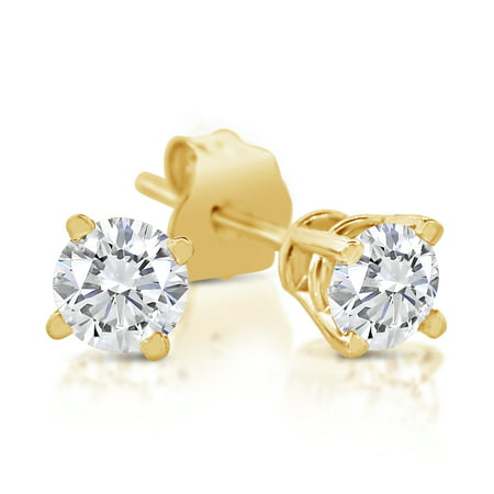 1/5ct tw Diamond Stud Earring in 14k Yellow - 14k Yellow Gold Insert