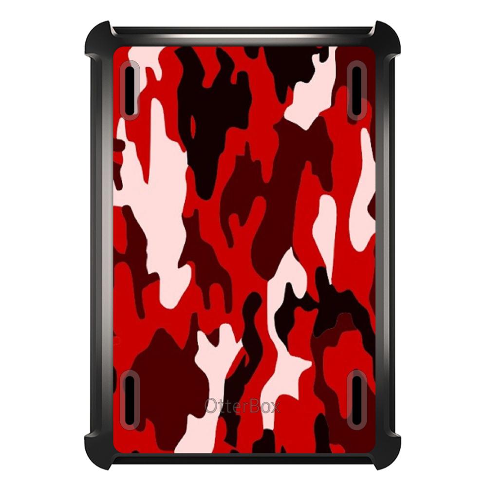 CUSTOM Black OtterBox Defender Series Case for Apple iPad Mini 4 - Red Black Camouflage