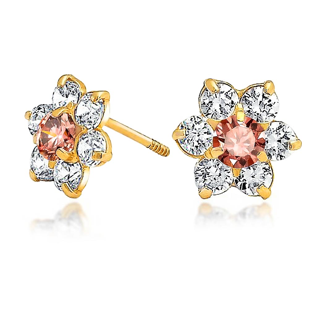 Bling Jewelry Kids Color Safety Screwback CZ Flower Studs 14k Gold