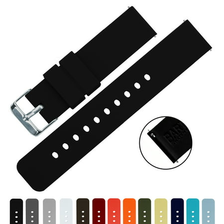 BARTON Quick Release Silicone Watch Band - Choice of Color & Width (16mm,  18mm, 20mm or 22mm) - Black 22mm Watchband Strap