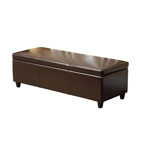 Devon & Claire Felicia Dark Brown Leather Storage Ottoman