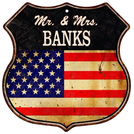 American Flag Mr    Mrs  Banks Family Name Metal Sign Home D Cor Gift S120270