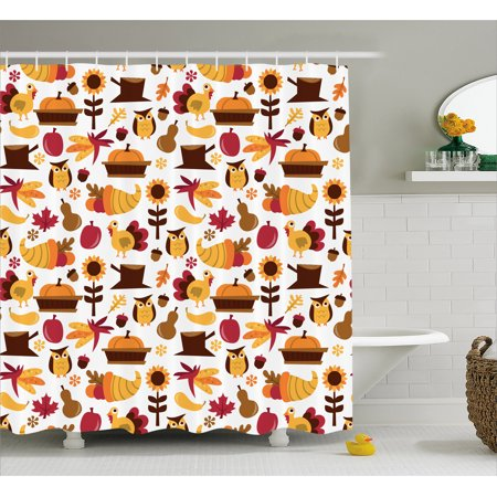 Harvest Shower Curtain Cute Cartoon Fall Composition Nuts Maple Leaves Owls Roosters Pumpkins Fabric