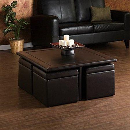 living room rectangular custom wood brown coffee table storage ottoman set. Black Bedroom Furniture Sets. Home Design Ideas