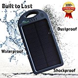 Solar Charger with 5000 mah Power Bank, BONUS Accessory Case, Dual USB Solar Phone Charger, Waterproof Solar Battery Charger for by Generic