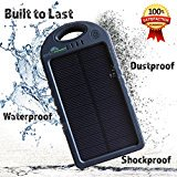 Solar Charger with 5000 mah Power Bank, BONUS Accessory Case, Dual USB Solar Phone Charger, Waterproof Solar Battery Charger for ()