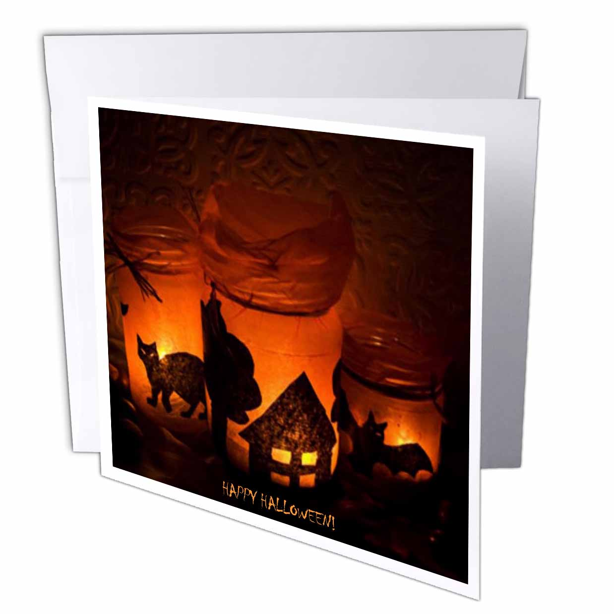 3dRose Halloween Cat, House and Bat Luminaries, Greeting Cards, 6 x 6 inches, set of 12