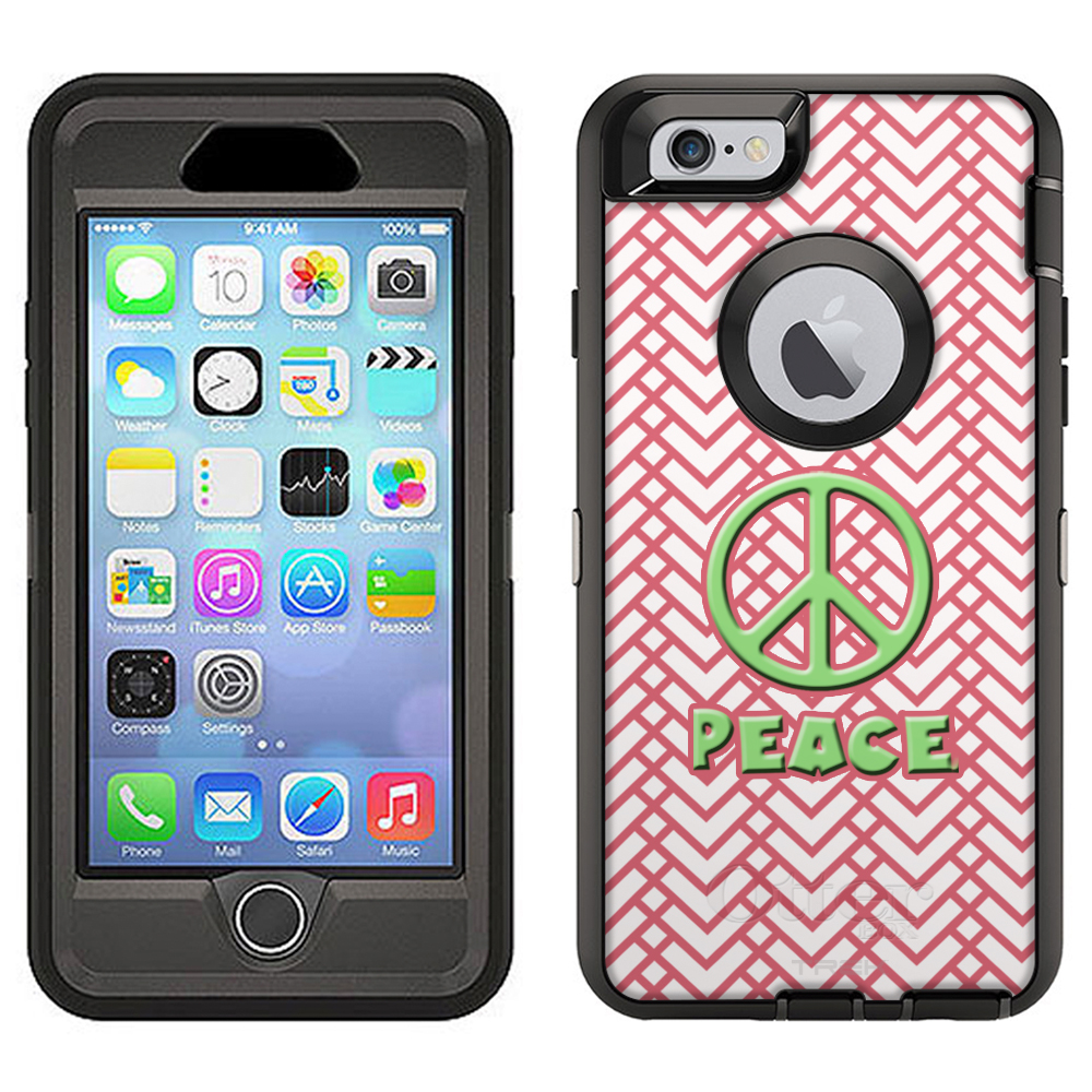 SKIN DECAL FOR Otterbox Defender Apple iPhone 6 Plus Case - Peace on Chevron Multi Mauve White DECAL, NOT A CASE