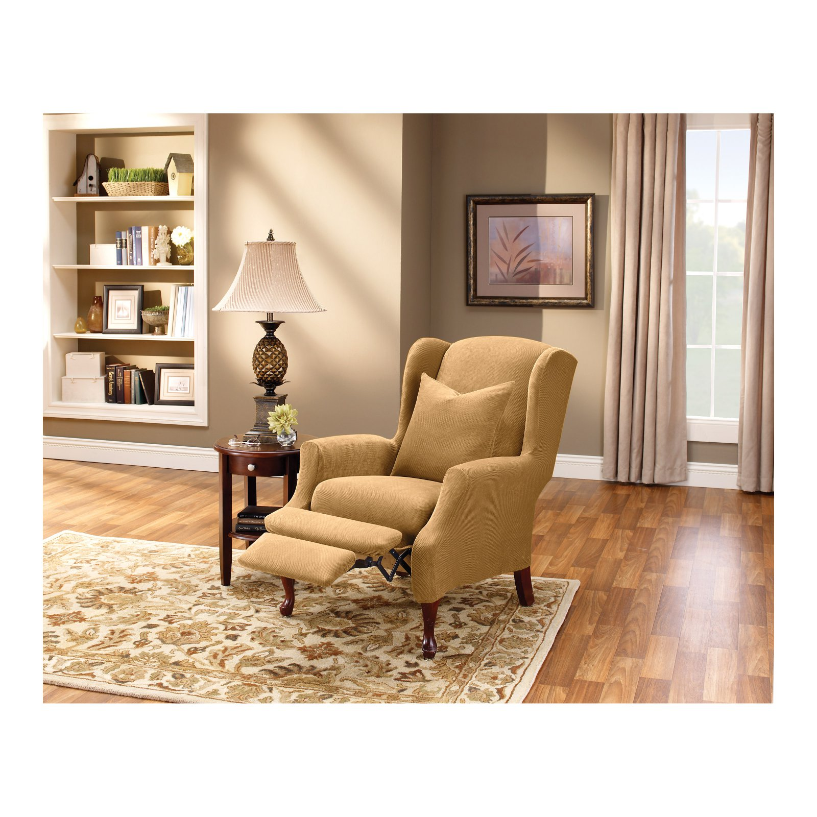 sure fit stretch pique wing chair recliner slipcover