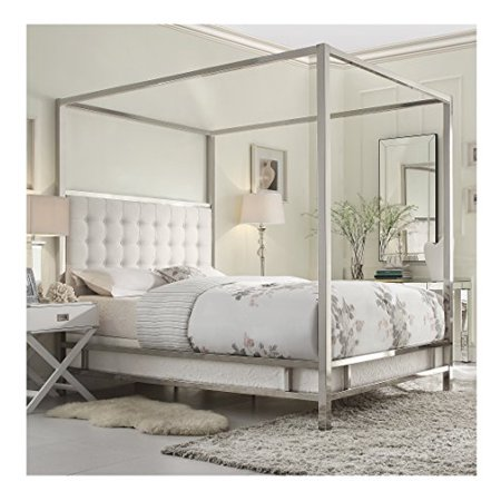 Modern Square Polished Chrome Canopy Poster Queen Bed with Off White Button Tufted Linen Upholstered Headboard (Chrome Modern Bed)