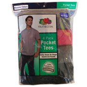 """Fruit Of The Loom Men's 4-Pack Assorted Colors Pocket Tees Size: L (42-44"""")"""