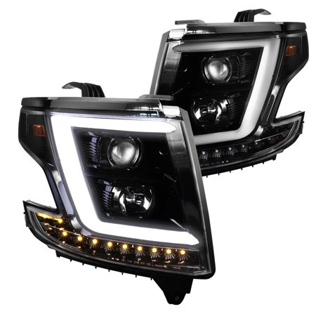 Spec D Tuning 2017 Chevy Tahoe Gmc Suburban Shiny Black Led Drl Projector Headlights Lamps Signal 2016 Left Right