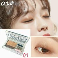 ZEDWELL Two-Color Gradient Eye Shadow Palette Lazy Eyeshadow Non-blooming Waterproof Glitter Eyeshadow