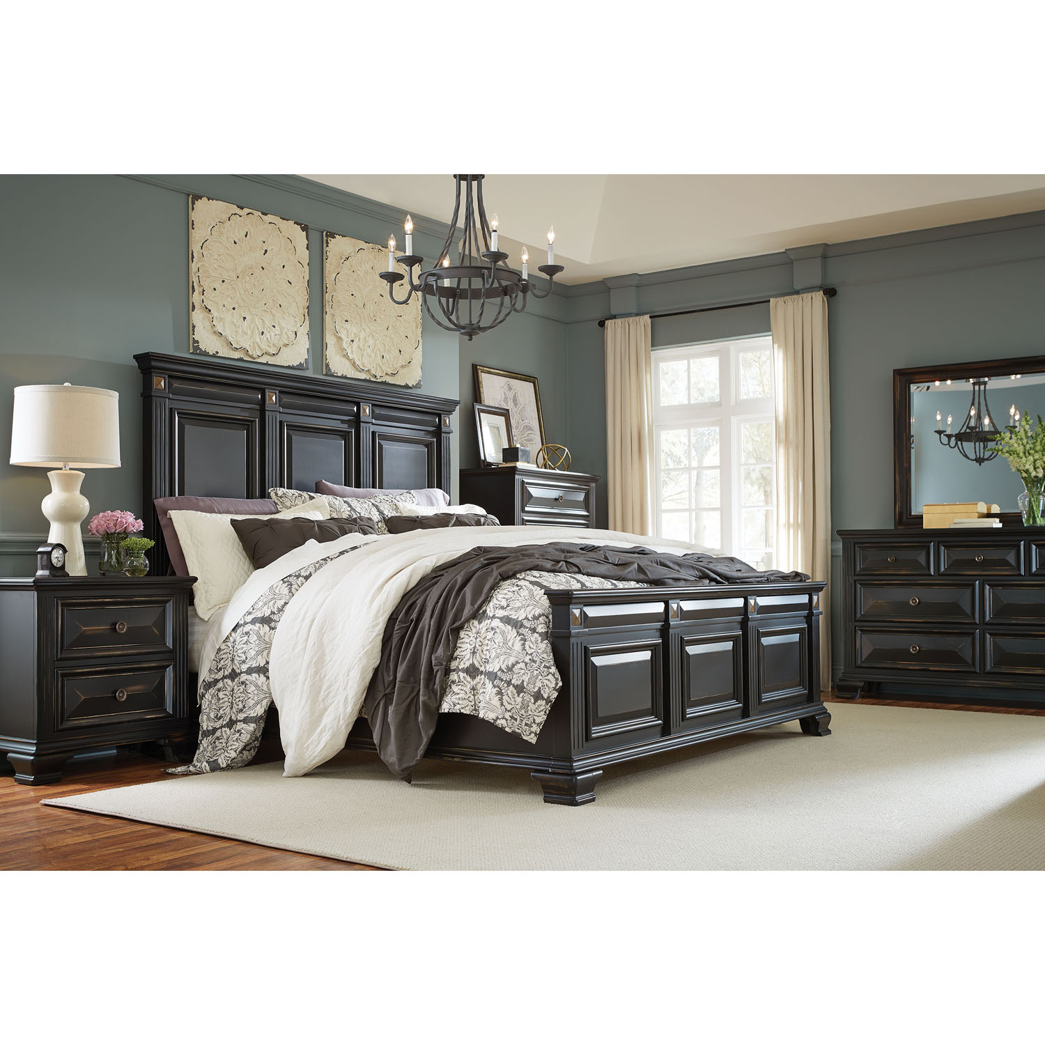 Cambridge Heritage 5-Piece Bedroom Suite: Queen bed, Dresser, Mirror, Chest, and Nightstand