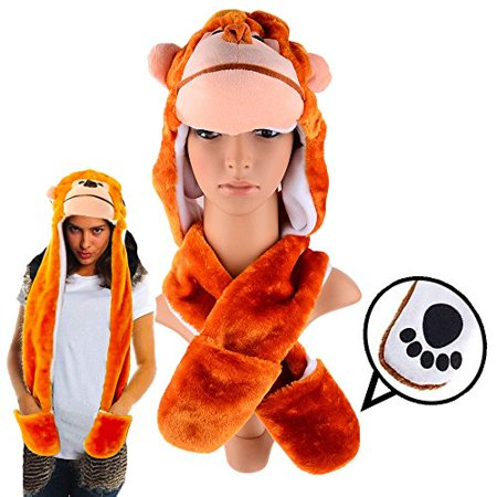 Plush Monkey Hat with Long Paws Multi-functional Novelty - Adult Sock Monkey Hat