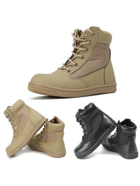 Meigar Kids Children Boys Girls Combat Army Military Tactical Casual Cosplay Ankle High Top Boots Soft Comf y Co zy Round Toe Shoes