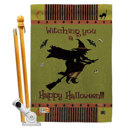 Image of Breeze Decor BD-HO-HS-112053-IP-BO-D-US12-SB 28 x 40 in. Witching You Fall Halloween Impressions Decorative Vertical Double Sided House Flag Set with Pole Bracket Hardware