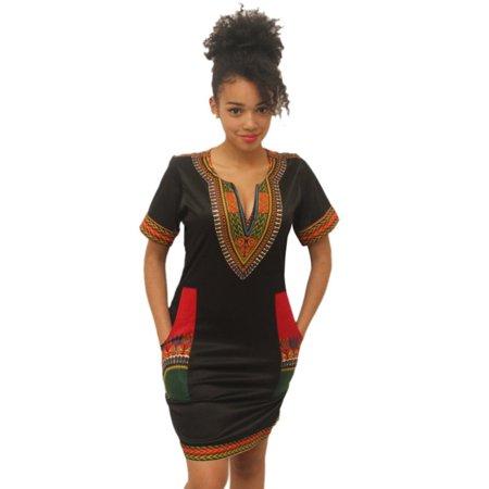Dashiki Vintage Hippie Print Dresses, Women Vintage Hippie Dress Tribal Print Boho - Hippy Dress