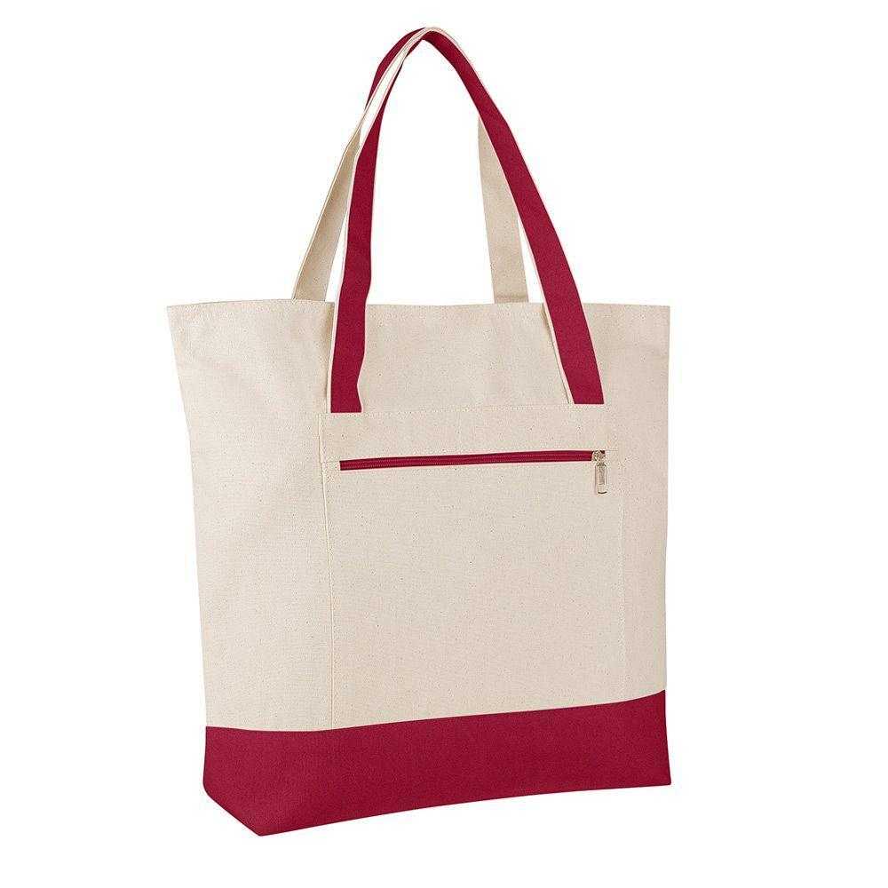 4dae727aba99 Large Canvas Tote Bag with Zipper Pocket