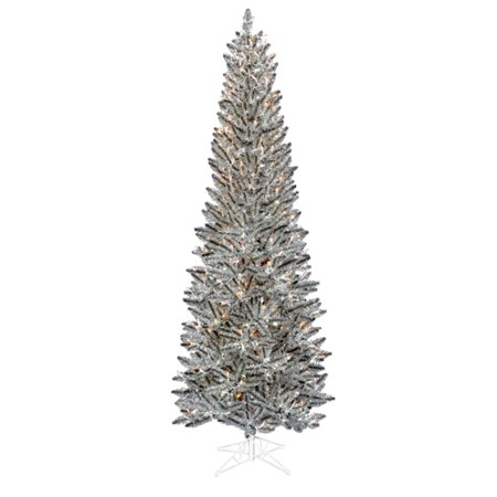 75 pre lit silver pewter artificial tinsel pencil christmas tree clear lights