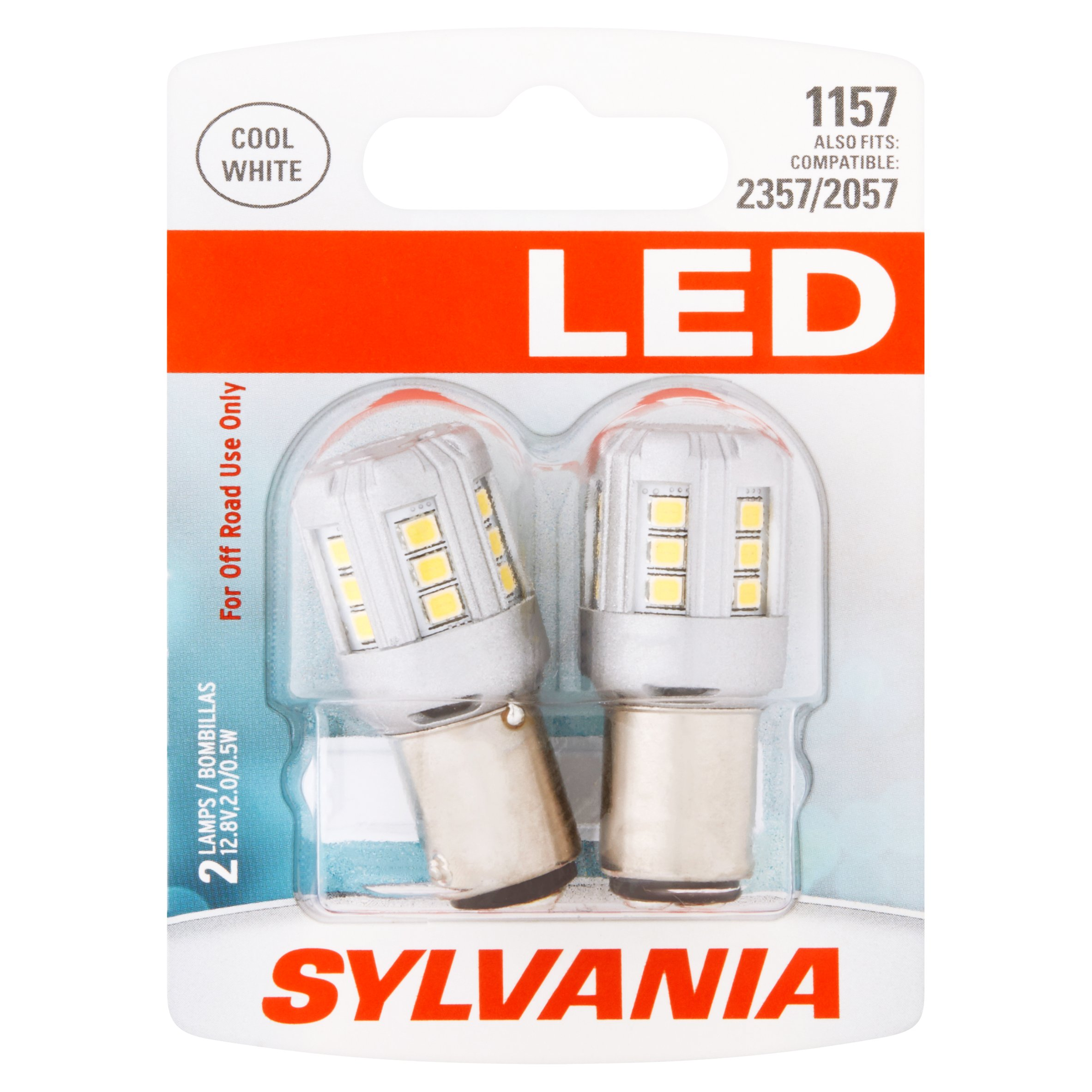 Sylvania LED 1157 12.8V 2.0/0.5W Cool White Lamps, 2 count
