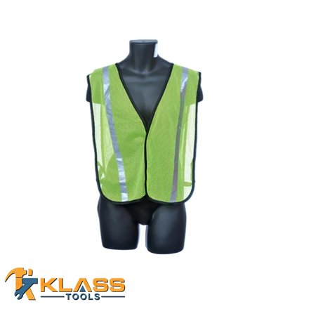 Lime Green General Purpose Safety Mesh Vest with Silver Reflector Stripes (Size: OSFA) (High Vis Safety Green)