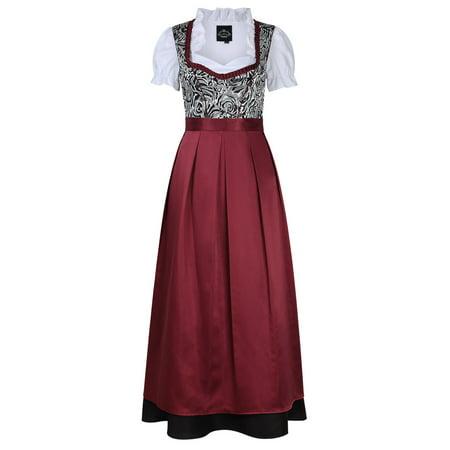 Oktober Fest Dress (Women's German Traditional Oktoberfest Costumes Classic Dress Three Pieces)