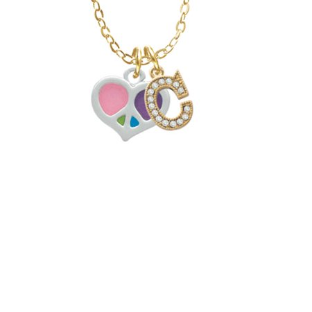 Small Enamel Heart Peace Sign - C - Gold Tone Crystal Initial Sophia Necklace, 18