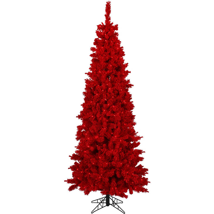 Vickerman Pre-Lit 4.5' Flocked Red Artificial Christmas Tree, Red Lights