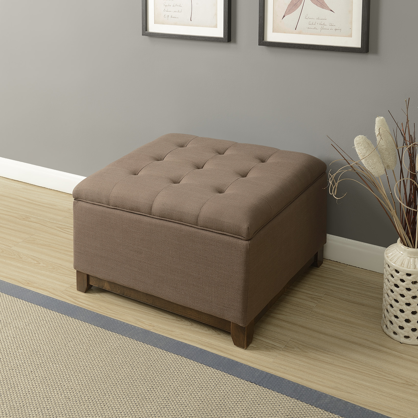 Belleze Large Ottoman Storage Table Bench Linen Tufted Footrest Seat Stool, Espresso Brown