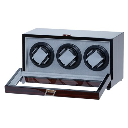 Two Slot Watch Winder - Triple Watch Winder Ebony Wood Glossy Finish With Silent Japanese Mabuchi Motor w/Zargler Turntable