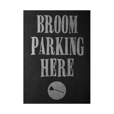 Broom Parking Here Print Broomstick Picture Fun Scary Humor Halloween Seasonal Decoration Sign