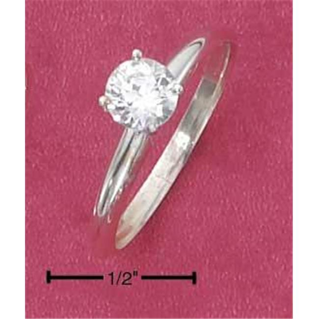 Sterling Silver 5mm Round Cz Ring On Plain 2mm Tapered Band - Size 7