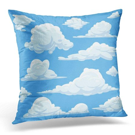 - USART Cloudy Cartoon Clouds in Blue Sky of White Heaven with Fluffy Cloid Flat Pillow Case Pillow Cover 20x20 inch