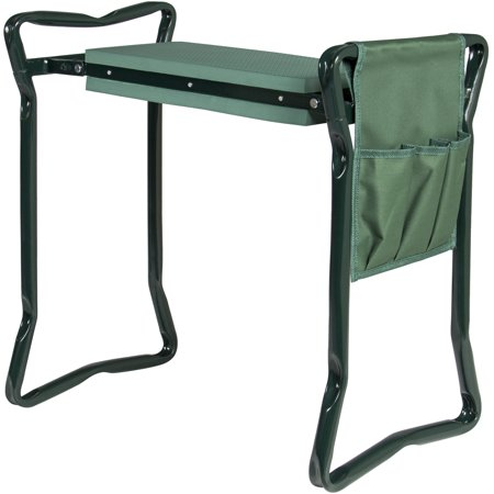 Best Choice Products Foldable Portable Garden Stool Kneeler and Seat w/ Bonus Tool Pouch EVA Pad - Green