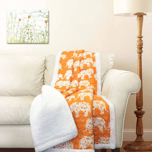 Elephant Parade Sherpa Throw Blanket, Tangerine